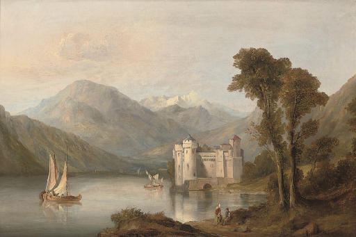 Figures resting beside an alpine lake, a castle beyond