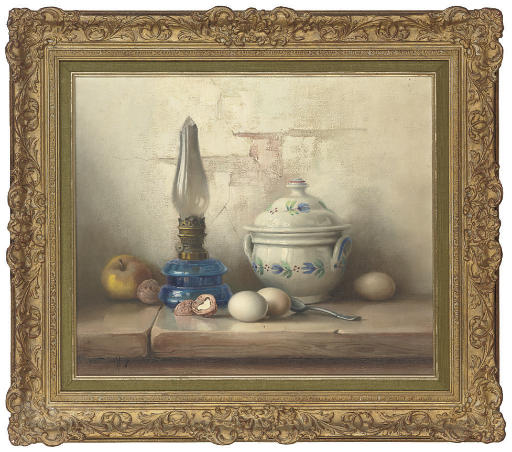 An apple, wallnuts, eggs, oil lamp and soup tureen, on a stone ledge