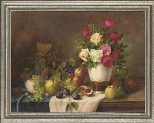 Roses in a vase with grapes, apples, peaches and plums to the side, on a table