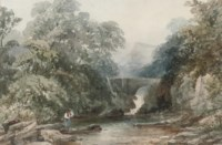 An angler on a riverbank before a waterfall