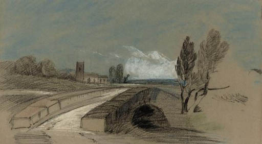 An extensive landscape with a stone bridge before a church