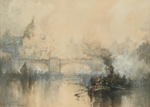 A murky day on the Thames, near Blackfriars