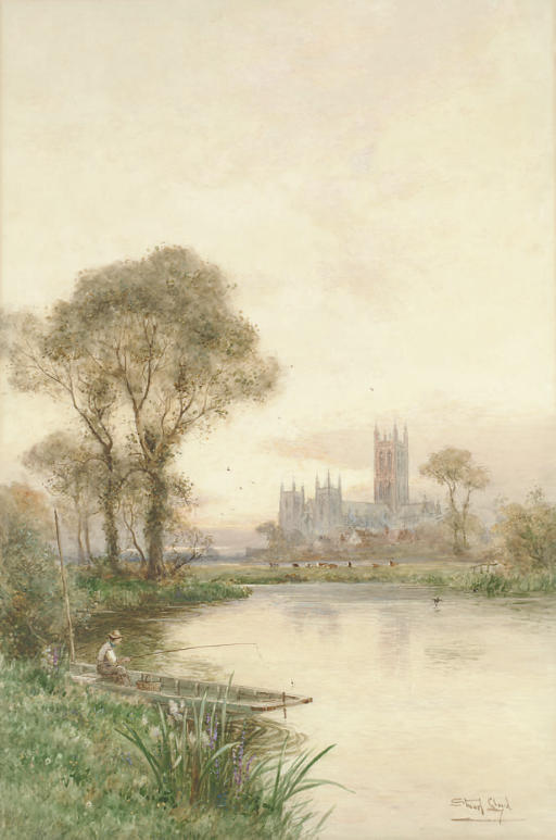An angler fishing on the Stour before Canterbury Cathedral