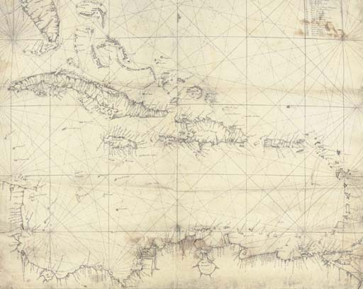 CUBA -- Fine manuscript chart