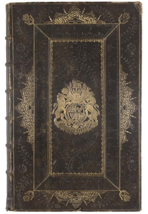 The Book of Common Prayer. London: Thomas Newcomb, and Henry Hills, 1710.  2° (380 x 240mm). Additional engraved title, ruled in red throughout (lacks Yy1, 6 leaves re-margined, one of which replaced the wrong way round, erased inscription on bottom of title, some leaves browned or spotted, a few margins lightly waterstained). Contemporary dark green morocco, bound possibly by Robert Steel (for a similar binding see Maggs catalogue 1075, no.117 and catalogue 1212, no.70), sides pannelled in gilt, gilt COAT-OF-ARMS OF QUEEN ANNE with her cypher in corners, gilt ornaments on each side of outer panel, made up of drawer-handels, fleurons, lines, dots and other small tools, spaces in between gilding richly decorated in blind with the same tools, such as acorns, thistles, a rose tool, etc., spine with raised bands, divided into 7 compartments, decorated in gilt and each with the Royal cypher (extremities rubbed, head of spine a little chipped, foot of spine skilfully repaired and foot