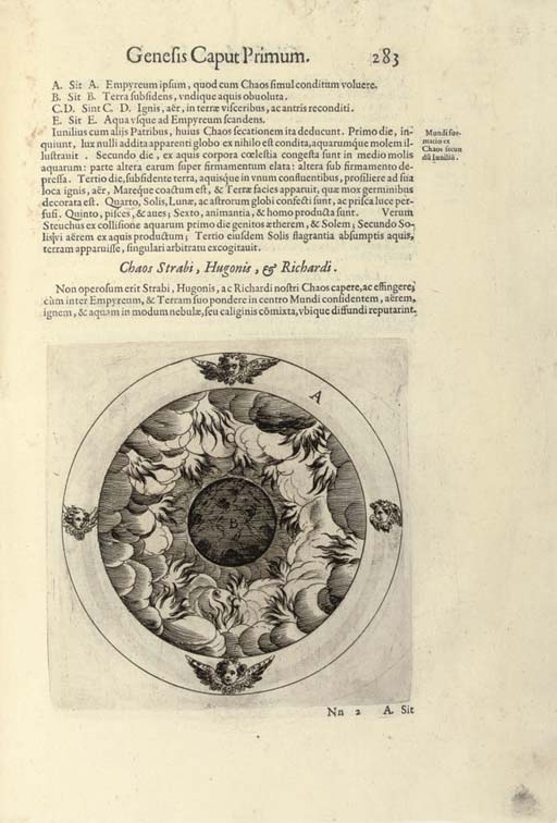 MARTINENGO, Ascanio (1541-1600). Glossae magnae in sacram Genesim. Padua: Lorenzo Pasquati, 1597. 2 volumes, 2° (338 x 236mm). Large engraving on titles and 10 large engravings of the earth in various stages of its development in the text, with the final blank (without leaf of Ad notanda according to Adams, short tear in lower margin of 3H4 in vol.I affecting text slightly, title of vol.I a little spotted and stained). 19th-century Italian half vellum (covers rather spotted and stained). Provenance: 18th-century presentation inscription on titles from Fr. Agostino Ceccarelli; the Regular Canons of Spettisbury (blue ownership stamp on an endpaper). Only edition of this exhaustive commentary on the first book of Genesis. Edit-on line 33126; Adams M724.	 (2)