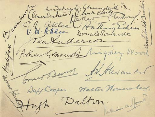 CHURCHILL, Sir Winston Leonard Spencer (1874-1965) -- THE WAR CABINET. Signatures of Churchill ('Winston S. Churchill'), Clementine and members of the War Cabinet including Attlee, Eden, Halifax, Greenwood, Beaverbrook, John Anderson, Ernest Bevin, Sir Kingsley Wood, Alexander, Herbert Morrison, and others, n.d. [c.1942], on a page of an autograph album, the remaining pages containing a considerable number of signatures of wartime MPs, 1940-1044, 25 leaves, oblong 8vo, blue roan, paper wrappers (soiled).