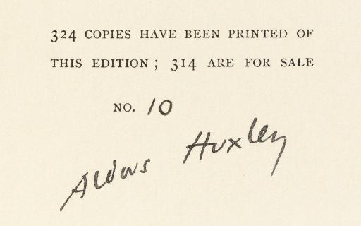 HUXLEY, Aldous (1894-63).  Bra