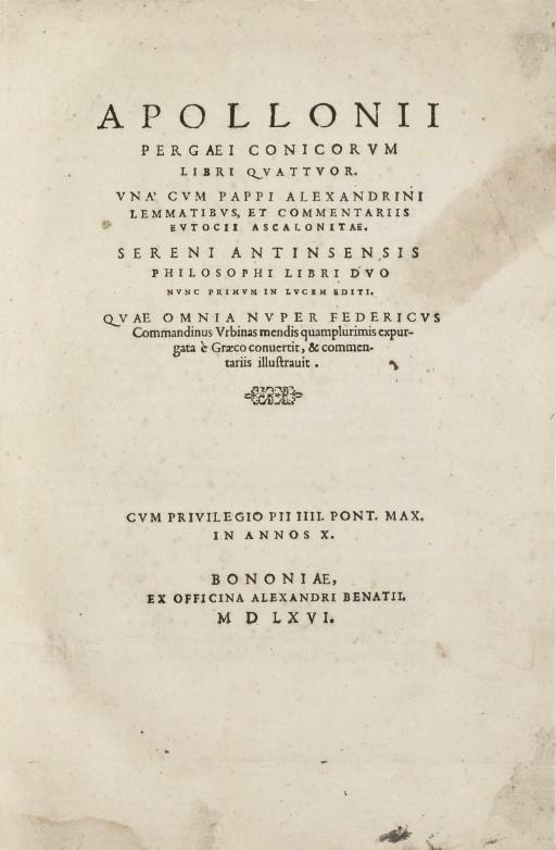 APOLLONIUS Pergaeus (ca.260-ca
