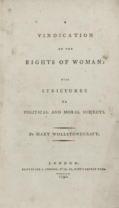 WOLLSTONECRAFT, Mary. A Vindic