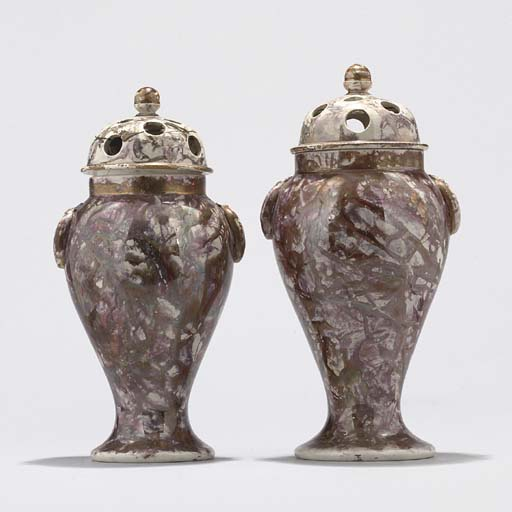 TWO ENGLISH VARIEGATED LUSTREWARE BALUSTER POT-POURRI VASES AND COVERS