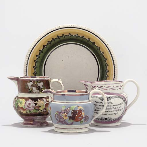 A COLLECTION OF ENGLISH LUSTREWARE AND TWO SPONGEWARE BOWLS