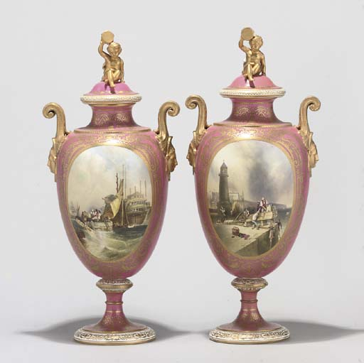 A PAIR OF COPELAND PINK-GROUND TWO-HANDLED VASES AND COVERS