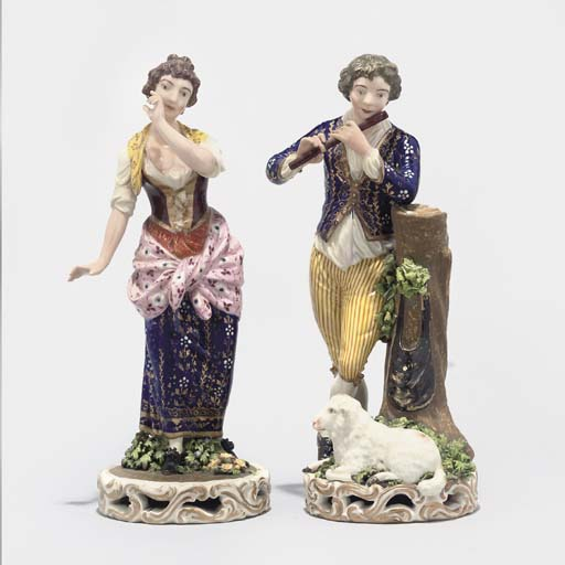 A PAIR OF DERBY (BLOOR) FIGURES OF A SHEPHERD AND SHEPHERDESS