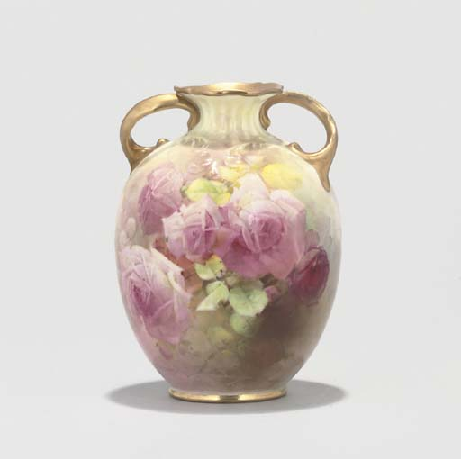 A ROYAL DOULTON TWO-HANDLED VASE