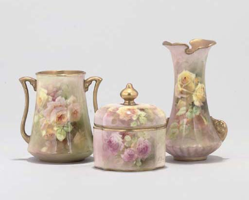 THREE ROYAL DOULTON VASES AND A BOX AND COVER