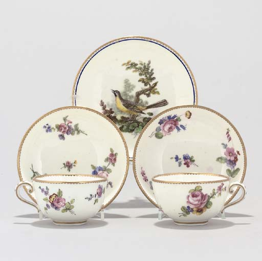TWO SEVRES CUPS AND SAUCERS AN