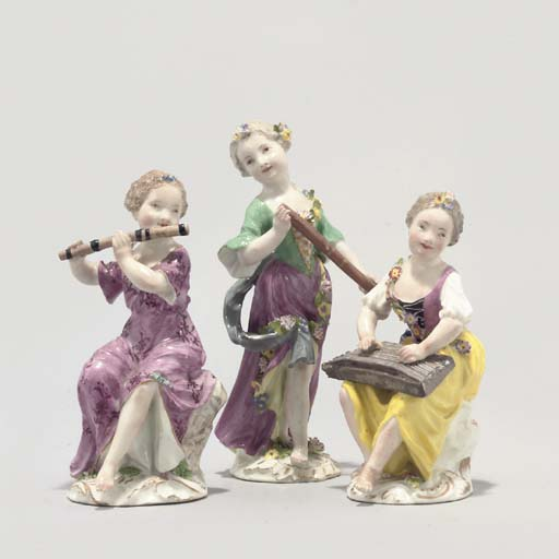 THREE MEISSEN FIGURES OF MUSIC
