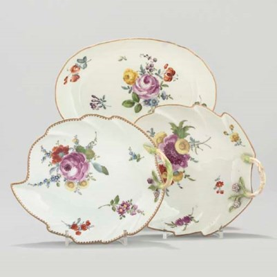 TWO MEISSEN LEAF-SHAPED DISHES