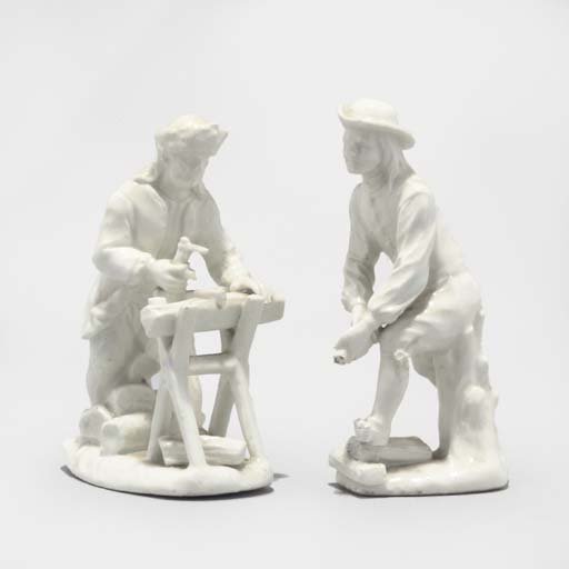 A PAIR OF MEISSEN WHITE FIGURE