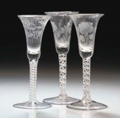 A PAIR OF ENGRAVED OPAQUE-TWIS