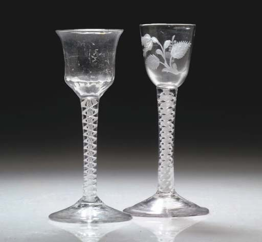 TWO OPAQUE-TWIST WINE-GLASSES
