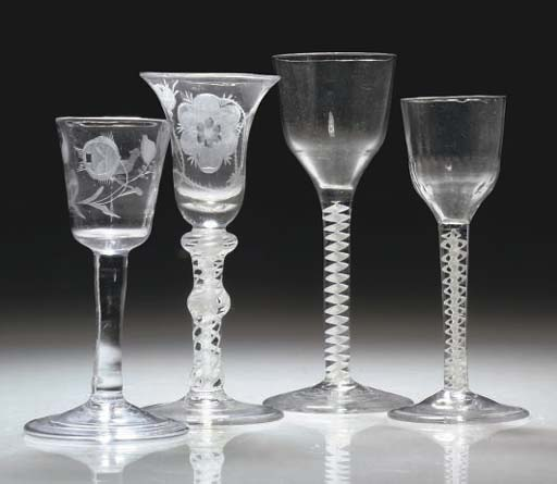 THREE BRITISH WINE-GLASSES AND