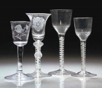 THREE BRITISH WINE-GLASSES AND