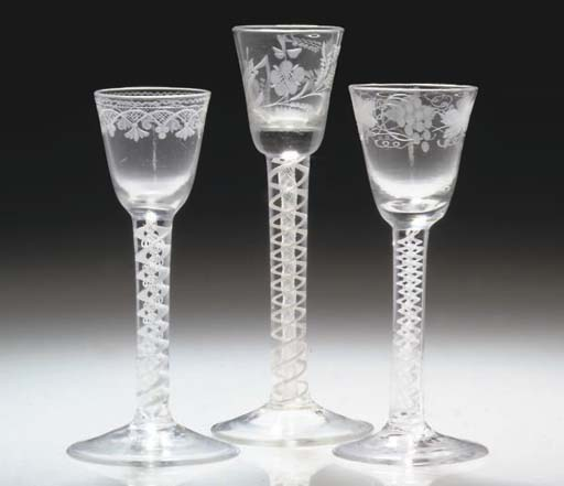 THREE VARIOUS ENGRAVED OPAQUE-