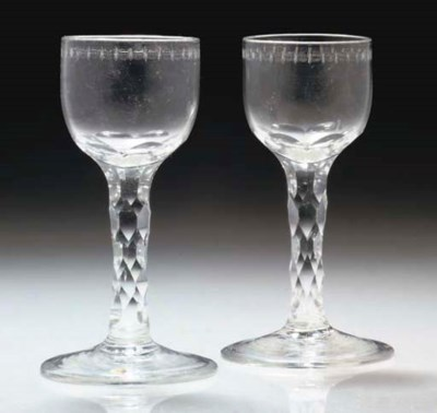 A PAIR OF FACET-STEMMED WINE-G