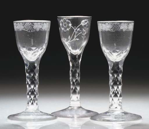 A PAIR OF FACETED AND ENGRAVED