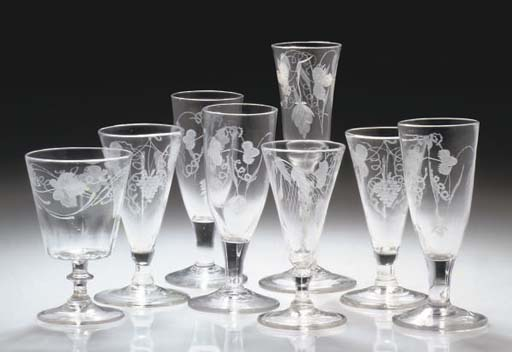 A GROUP OF ALE AND WINE-GLASSE