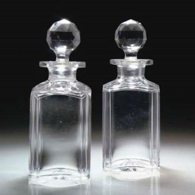 A PAIR OF RECTANGULAR CUT-GLAS