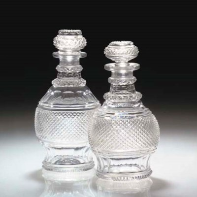 TWO SIMILAR SMALL CUT DECANTER