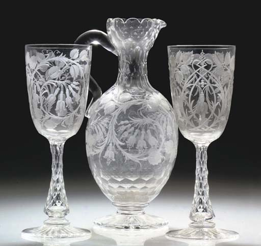 A CUT AND ENGRAVED EWER AND TW