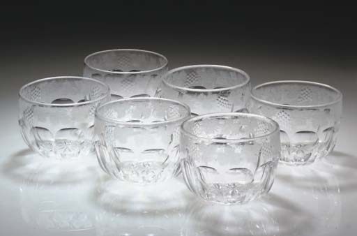A SET OF SIX CUT AND ENGRAVED