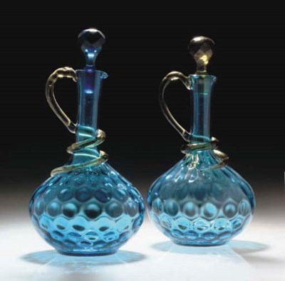A PAIR OF BLUE AND AMBER DECAN