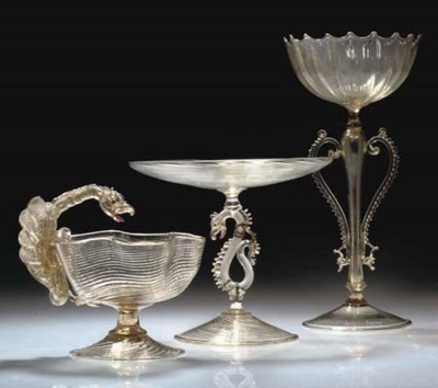 SIX ITEMS OF VENETIAN GLASS