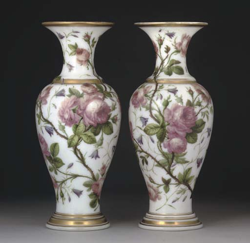 A PAIR OF FRENCH OPALINE BALUSTER VASES