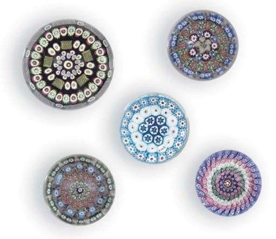 FIVE VARIOUS CONCENTRIC MILLEF