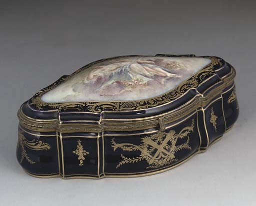 A SEVRES-STYLE GILT-METAL-MOUNTED JEWEL-BOX AND COVER
