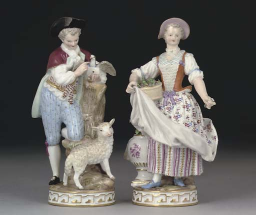 A MEISSEN FIGURE OF A SHEPHERD AND A FIGURE OF A LADY WITH FLOWERS