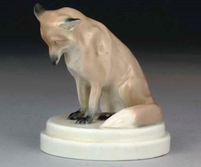 A MEISSEN MODEL OF A FOX