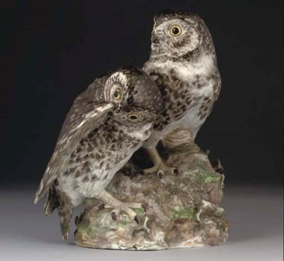 A MEISSEN GROUP OF TWO OWLS AN