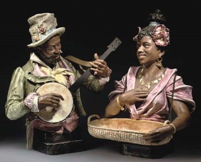TWO CONTINENTAL POTTERY BUSTS