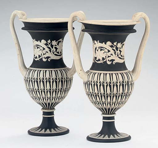 A PAIR OF WEDGWOOD BLACK JASPE