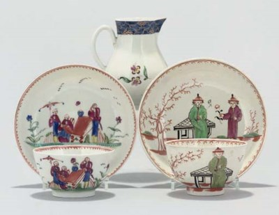 A LIVERPOOL CREAM-JUG, CUP AND