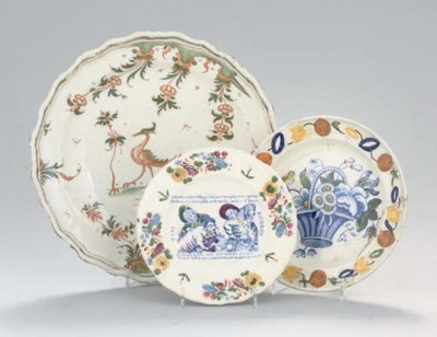 A MOUSTIERS MAIOLICA DISH AND