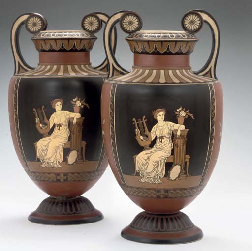 A PAIR OF METTLACH POTTERY TWO