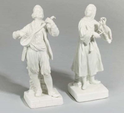 TWO MEISSEN WHITE FIGURES OF G